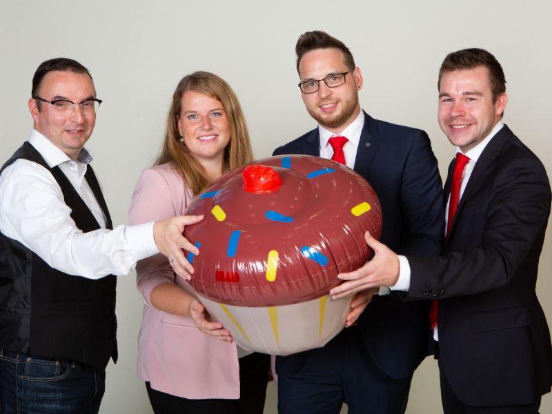 SHERPA-X Vertriebsteam (von links: Oliver Zigahl, Nina Hankele, Daniel Staudacker und Philip Hartmann