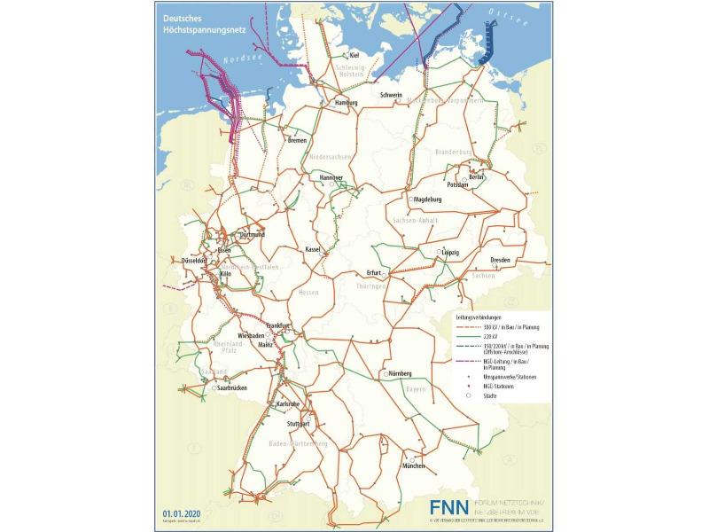 Höchstspannungsnetz-Karte des VDE/FNN